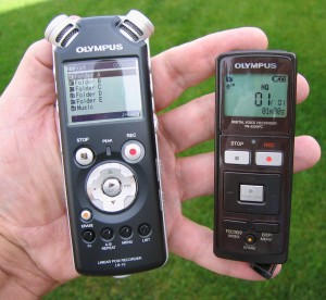 Bob's two recorders.  Left: Olympus LS-10 Linear PCM Recorder; right: Olympus VN-5200PC Digital Voice Recorder.